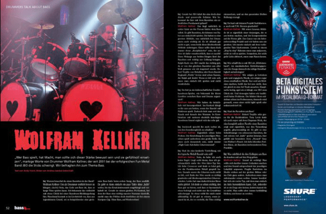 "J.B.O. – Eins meiner Wolfram Kellner Fotos im ""Bass quarterly"" Magazin"
